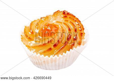 Swirl Shaped Muffin With Fruit Jam Isolated On White