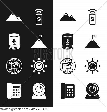 Set Mountains And Flag, Voice Assistant, , Contactless Payment, Globe With Flying Plane And Clock Ge
