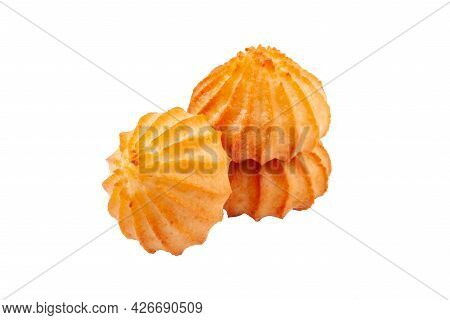 Homemade Danish Butter Biscuits Isolated On White Background