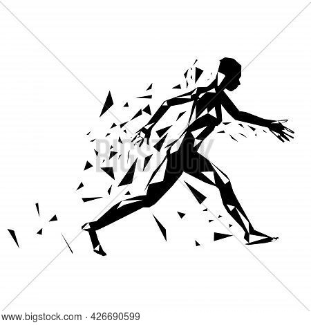 Abstract Silhouette Of A Running Man Torn To Pieces Isolated On White Background. Vector Illustratio