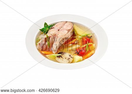 Fish Soup With Silver Carp Steak And Vegetables On White Background