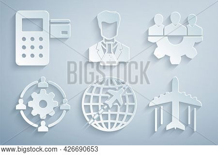 Set Globe With Flying Plane, Project Team Base, Outsourcing Concept, Plane, Scientist And Test Tube