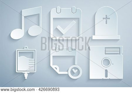 Set Calendar And Clock, Tombstone With Cross, Iv Bag, Floppy Disk In The 5.25-inch, Check Mark And M