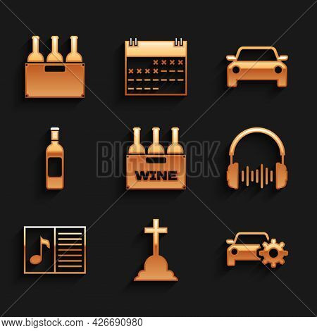 Set Bottles Of Wine In Box, Tombstone With Cross, Car Service, Headphone And Sound Waves, Music Book