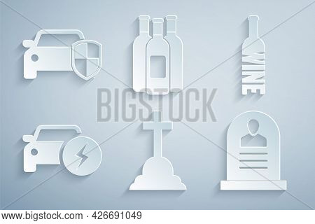 Set Tombstone With Cross, Bottle Of Wine, Electric Car, Rip Written, Bottles And Car Protection Or I