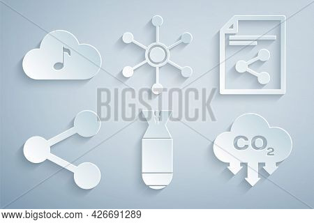 Set Aviation Bomb, Share File, , Co2 Emissions In Cloud, Network And Music Streaming Service Icon. V