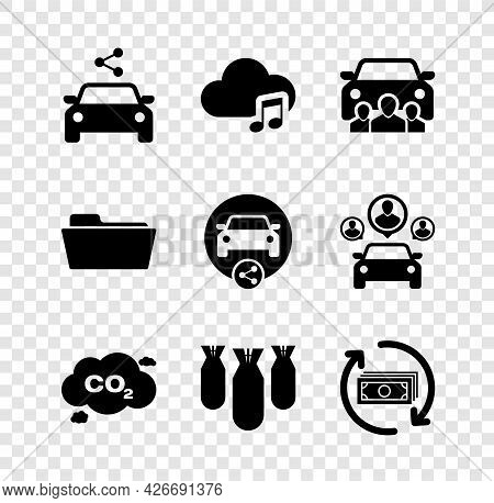 Set Car Sharing, Music Streaming Service, , Co2 Emissions Cloud, Aviation Bombs And Refund Money Ico
