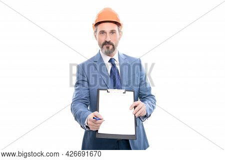 Ceo With Construction Documents. Mature Boss With Clipboard. Copy Space.