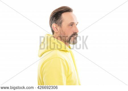 Fashion Model. Bearded Senior Guy With Moustache Isolated On White.