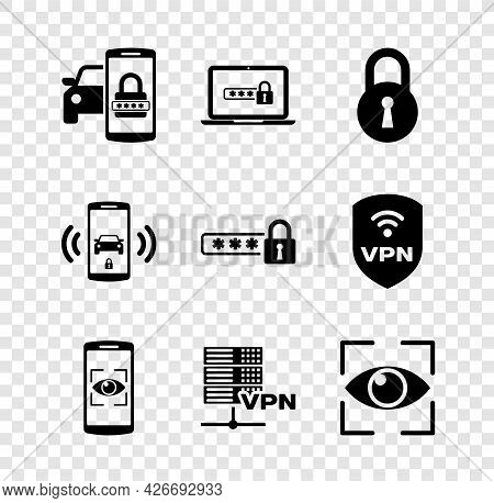 Set Smart Car Security System, Laptop With Password, Lock, Mobile And Eye Scan, Server Vpn And Eye I