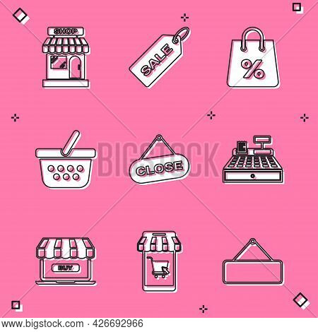 Set Market Store, Price Tag With Sale, Shopping Bag Percent, Basket, Hanging Sign Close, Cash Regist