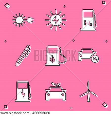 Set Sun With Electric Plug, Solar Energy Panel, Hydrogen Filling Station, Pen, Bio Fuel Fueling Nozz