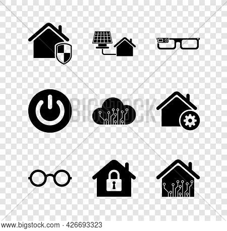 Set House Under Protection, With Solar Panel, Smart Glasses, Glasses, Home, Power Button And Interne