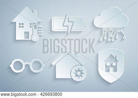 Set Smart Home Settings, Internet Of Things, Glasses, House Under Protection, Battery And Temperatur