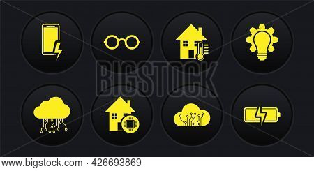 Set Internet Of Things, Light Bulb And Gear, Smart Home, House Temperature, Glasses, Battery And Mob