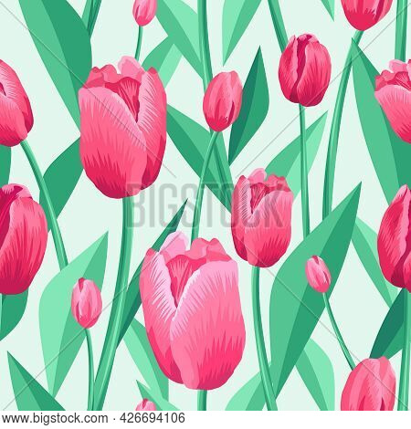 Tulip Seamless Pattern. Light Pale Green Background And Pink, Red Tulips With Green, Turquoise Leave