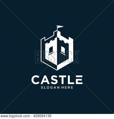 Vector Illustration Of Castle Logo Design Emblem, Palace Logo, Fortress Logo, Vector Illustration