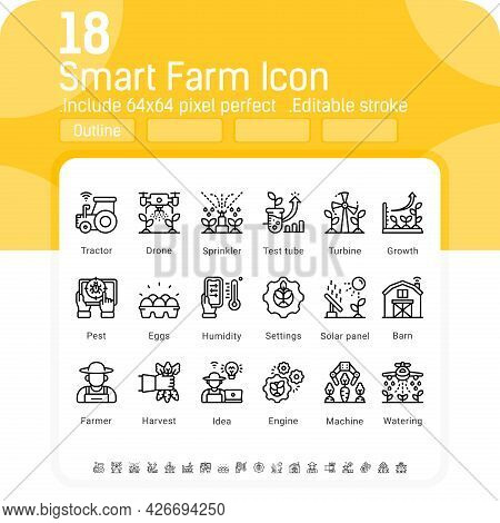 Vector Smart Farm Icon Set Isolated On White Background. Illustration Outline Symbols Of Technology