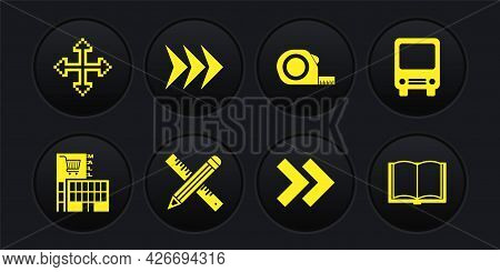 Set Mall Or Supermarket Building, Bus, Crossed Ruler And Pencil, Arrow, Roulette Construction, Open