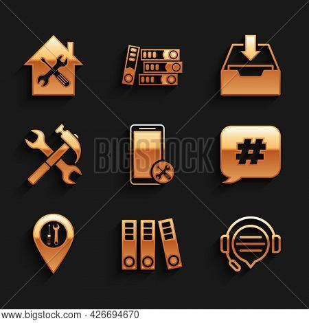 Set Mobile Service, Office Folders, Headphones With Speech Bubble Chat, Hashtag, Location, Crossed H