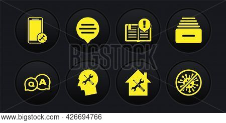 Set Question And Answer, Drawer With Documents, Human Head Service, House, Interesting Facts, Speech