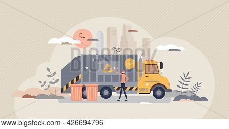 Waste Management, Garbage Recycling With Disposal Truck Tiny Person Concept. Professional Trash Hand