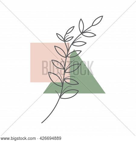 Organic Element Drawn One Continuous Line, Minimalistic Simple Organic Natural Element Isolated On W