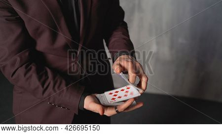 Play Cards In Close Up And Narrow Focus And Blur. Focus With Cards Close-up.