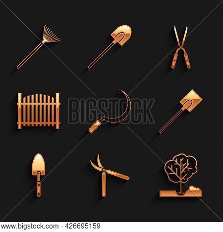 Set Sickle, Gardening Handmade Scissor, Planting Tree The Ground, Shovel, Trowel Spade, Fence, And R