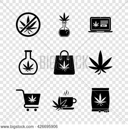 Set Stop Marijuana, Test Tube With, Online Buying, Shopping Cart, Cup Tea, Marijuana Or Cannabis See