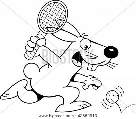 Black and white illustration of a rabbit playing tennis. poster