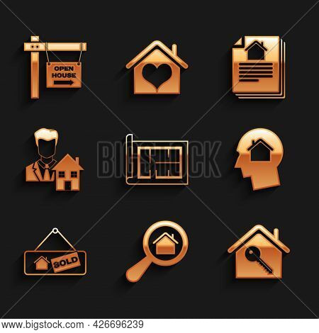 Set House Plan, Search House, With Key, Man Dreaming About Buying, Hanging Sign Sold, Realtor, Contr