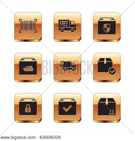 Set Barcode, Locked Package, Package Box With Check Mark, Delivery Truck In Movement, Cargo Ship Box