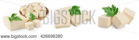 Tofu Cheese Isolated On White Background With Clipping Path And Full Depth Of Field, Set Or Collecti