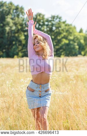 Blonde Romantic Woman In Pink Blouse And Skirt, Pretty Ladies Outfit, Girl In Meadow