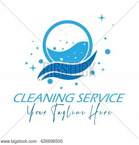 Logo Of A Laundry Or Dry Cleaning Service. Vector Illustration For A Logo, Brand, Label. Flat Style.