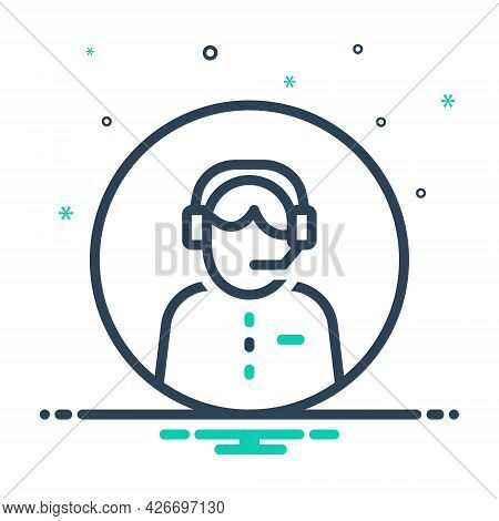 Mix Icon For Customer-service Headset Call-center Helpline Operator Consultant Telemarketing Assista
