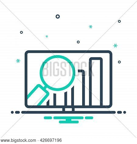 Mix Icon For Market-analytics Review Financial Revenue Magnifier Analysis Infographic Optimization O