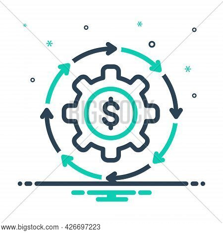 Mix Icon For Money-flow Cash Recycle Abundance Currency Finance Cycle Circulate Exchange Transaction