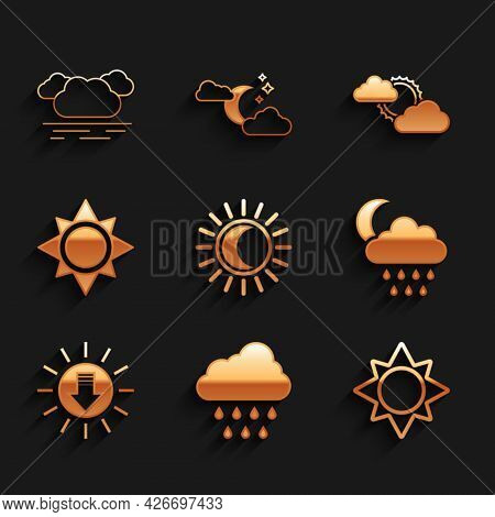 Set Eclipse Of The Sun, Cloud With Rain, Sun, And Moon, Sunset, Cloud Weather And Icon. Vector
