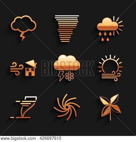 Set Cloud With Snow And Lightning, Tornado, Pinwheel, Wind Sun, Swirl, Cloudy Rain And Storm Icon. V