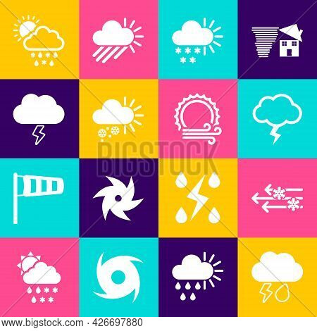 Set Cloud With Rain And Lightning, Wind Snow, Storm, Cloudy, Rain, Sun And Icon. Vector