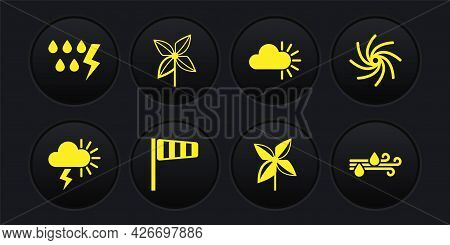 Set Storm, Tornado, Cone Windsock Wind Vane, Pinwheel, Cloudy, Wind And Rain And Icon. Vector