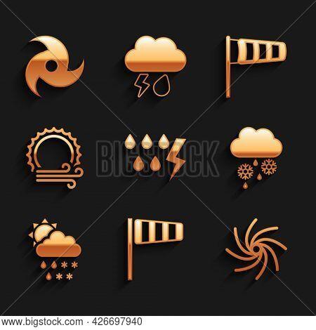 Set Storm, Cone Windsock Wind Vane, Tornado, Cloud With Snow And Rain, Snow, Rain, Sun, Wind, Meteor