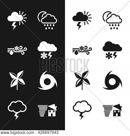 Set Cloud With Snow And Lightning, Wind Rain, Storm, Snow, Moon, Pinwheel, Tornado, Swirl And Icon.