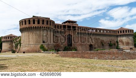 The Medieval Castle Of Imola. Fortress Of Imola. Banner Of Rocca Cinema Imola (fortress Cinema Imola