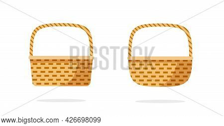Wicker Weave Basket Or Rustic Picnic Bag Collection Set Vector Flat Cartoon Icon Isolated Clipart