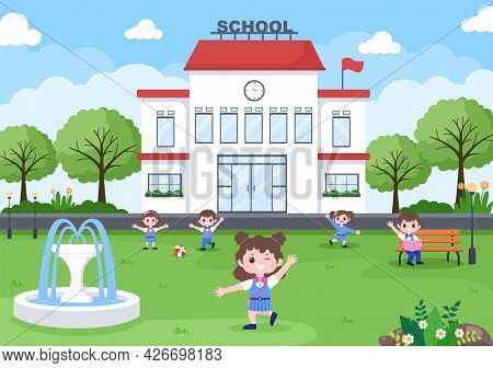 Back To School, Modern Building And Some Children Are Playing In The Front Yard. Background Landing