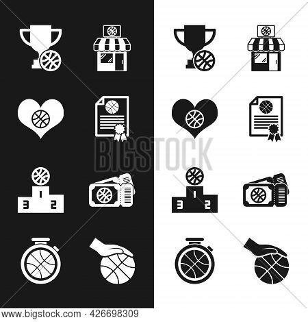 Set Certificate Basketball Award, Heart With, Award Cup, Sports Shop And, Winner Podium, Basketball