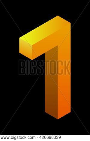 Gradient Golden Number 7 In Isometric Style. Yellow Figure Isolated On Black Background. Learning Nu